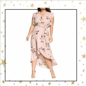 City Chic Wrap Rose Play Maxi blush dress 18 (C6)